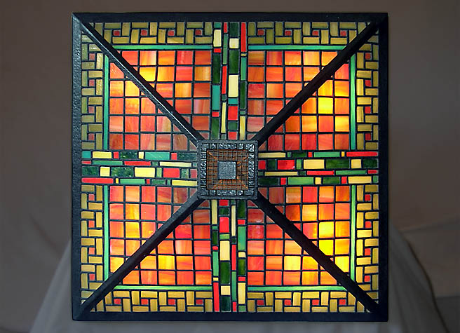 geometric frank lloyd wright stained glass by jeff grainger